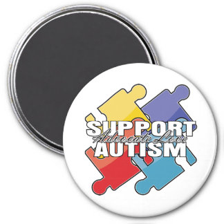Support Autism Awareness Puzzle Pieces 3 Inch Round Magnet