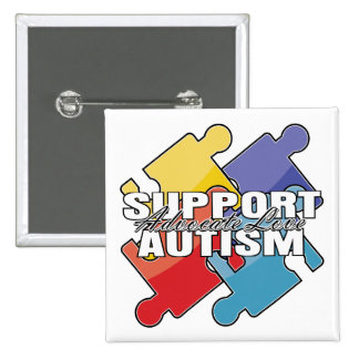 Support Autism Awareness Puzzle Pieces Button