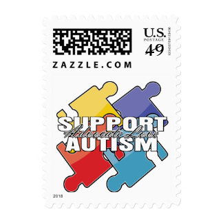 Support Autism Awareness Puzzle Pieces Postage Stamp