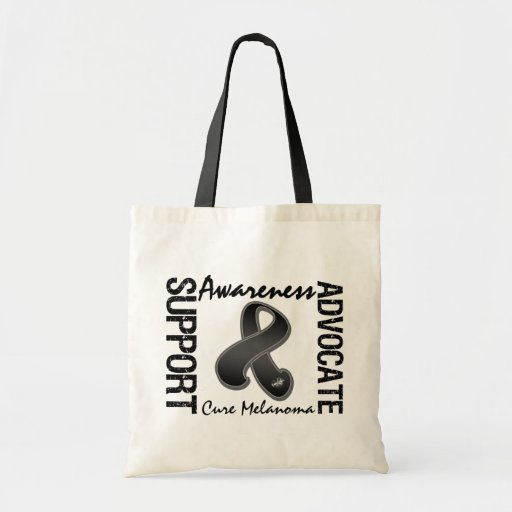 Support Awareness Advocate Cure Melanoma Tote Bags