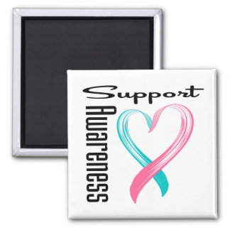 Support Awareness Heart Hereditary Breast Cancer 2 Inch Square Magnet