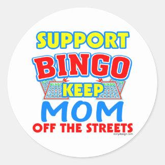 Support Bingo Mom Round Stickers