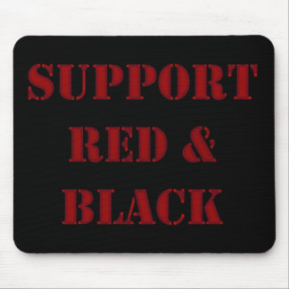 Support Black & Red Mouse Pad