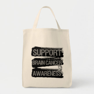 Support Brain Cancer Awareness Grunge Tote Bags