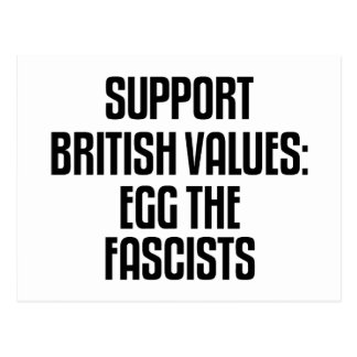 Support British Values: Egg The Fascists Postcard