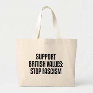 Support British Values: Stop Fascism Jumbo Tote Bag