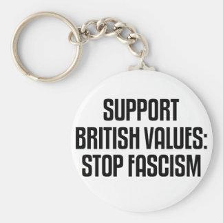 Support British Values: Stop Fascism Basic Round Button Keychain