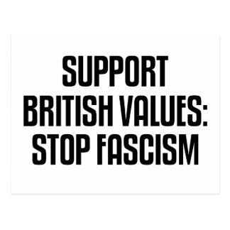 Support British Values: Stop Fascism Postcard