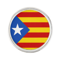 Support Catalonia Lapel Pin, Silver Plated Pin