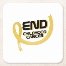 Support Childhood Cancer Awareness Square Paper Coaster