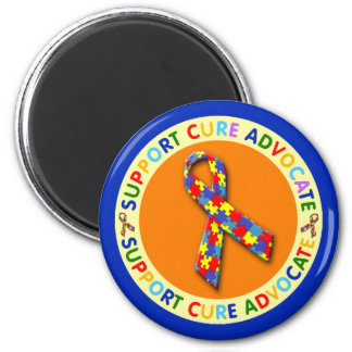 Support Cure Advocate Autism 2 Inch Round Magnet