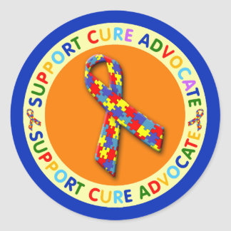 Support Cure Advocate Autism Classic Round Sticker