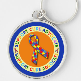 Support Cure Advocate Autism Silver-Colored Round Keychain