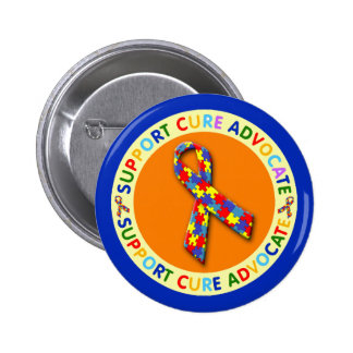 Support Cure Advocate Autism Pinback Button