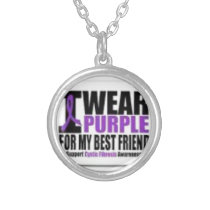Support cystic fibrosis research silver plated necklace