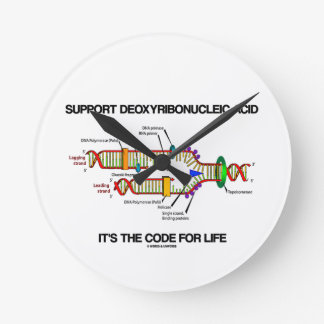 Support Deoxyribonucleic Acid It's The Code Life Round Clock