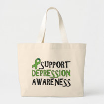 Support Depression Awareness Large Tote Bag