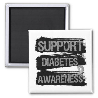Support Diabetes Awareness Grunge 2 Inch Square Magnet