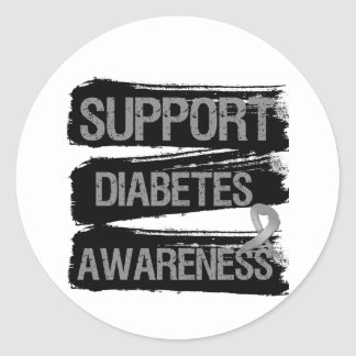 Support Diabetes Awareness Grunge Classic Round Sticker