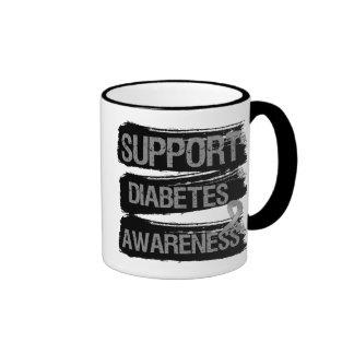 Support Diabetes Awareness Grunge Ringer Coffee Mug
