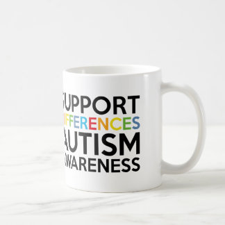 Support Differences Autism Awareness Coffee Mug