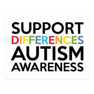 Support Differences Autism Awareness Postcard