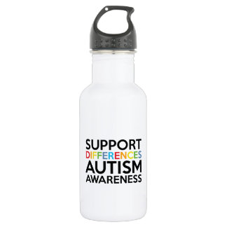Support Differences Autism Awareness Water Bottle