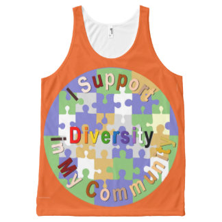 Support Diversity in My Community Unisex Tank, L All-Over-Print Tank Top