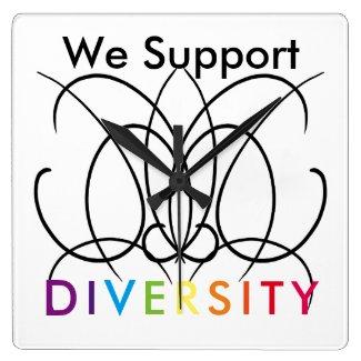 Support Diversity Pride Rainbow Clock CricketDiane