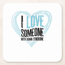 Support Down Syndrome Square Paper Coaster