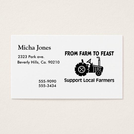 Support Farmers From Farm To Feast Business Card