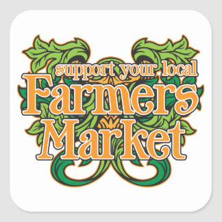 Support Farmers Market Square Sticker