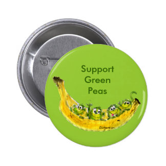 Support Green Peas Banimals Monkey Button Pin