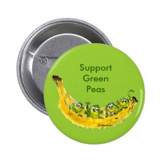 Support Green Peas Banimals Monkey Button Pin