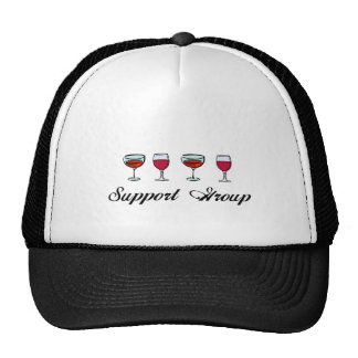 Support Group Wine Glasses Hats