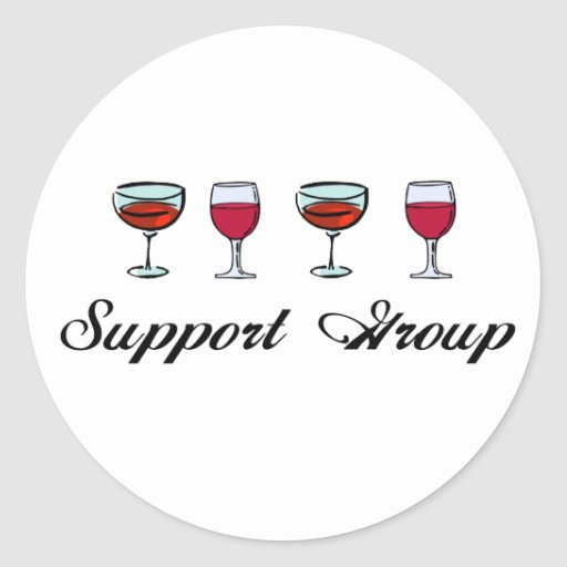 Support Group Wine Glasses Round Stickers