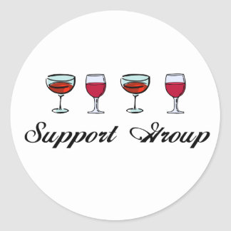 Support Group Wine Glasses Classic Round Sticker