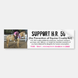 Support H.R. 503 - Prevention of Cruelty to Horses Bumper Sticker