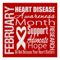 Support Heart Disease Awareness Month Poster