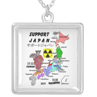 SUPPORT JAPAN 2011 SQUARE PENDANT NECKLACE