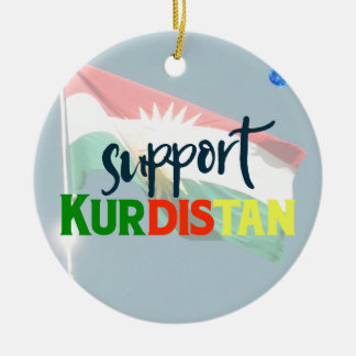 Support Kurdistan Poster 2 Ceramic Ornament