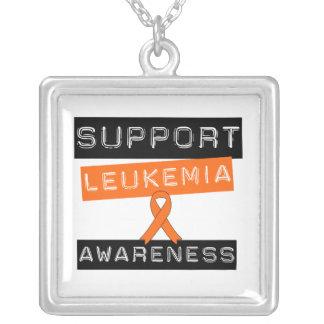 Support Leukemia Awareness Square Pendant Necklace