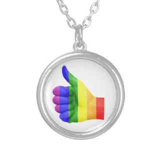 Support LGBT Gay Lesbian Pride Rainbow  Neckalce Silver Plated Necklace