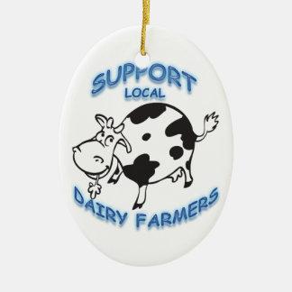 Support Local Dairy Farmers Ceramic Ornament