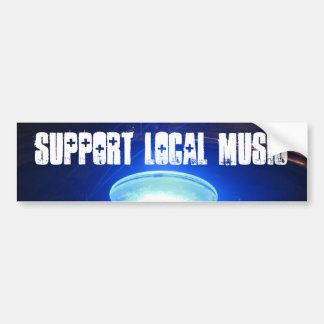 Support Local Music Blue Glow Bumper Sticker