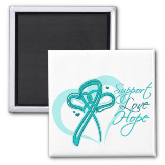 Support Love Hope - Gynecologic Cancers 2 Inch Square Magnet