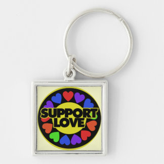 Support Love Silver-Colored Square Keychain
