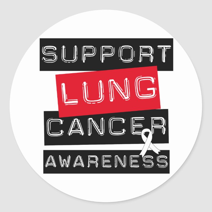 Support Lung Cancer Awareness Classic Round Sticker