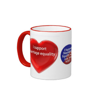 SUPPORT MARRIAGE EQUALITY RINGER COFFEE MUG