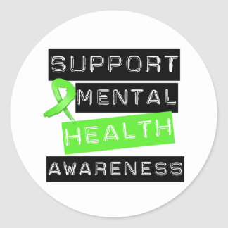 Support Mental Health Awareness Round Stickers